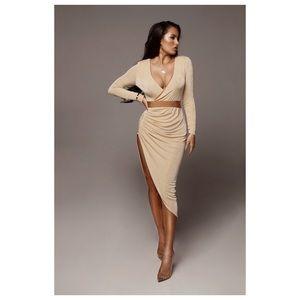 Tan Teresa High Slit Maxi Dress